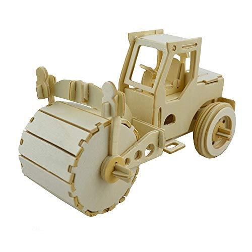 HeroStore Wooden 3D Vehicles Puzzle DIY Car Dump Truck Lorry Forklift Bulldozer Motorcycle Scale Miniature Model Building Toys