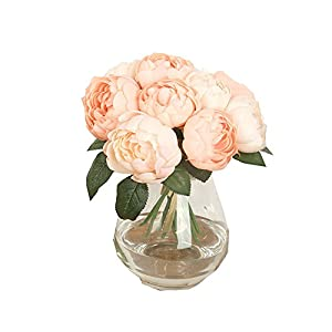 Peony Round Rose Artificial Flower Fake 1 Bouquet 6 Heads Silk Flower Leaf Home Wedding Party Decor (Pink) 18