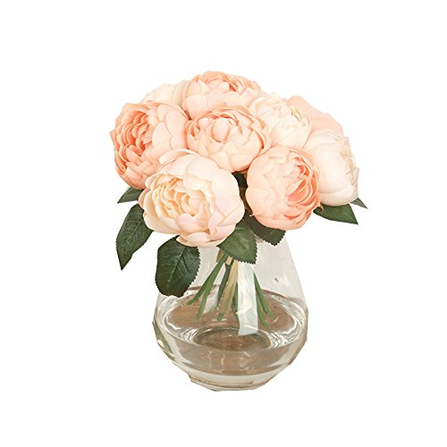 MaxFox Big Bouquet 6 Heads Artificial Peony Silk Floral Flower Leaf Arrangement in Vase for Home Wedding Party Decor (Pink)