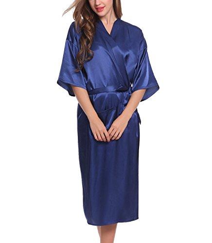 HuoGuo Women's Robes Long Classic Satin Lounge Wedding Kimono Nightwear Dark (Halloween Makeup Tutorial Fx)