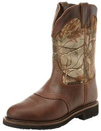 Justin Original Work Boots Men's Stampede Camo WaterProof Wk Work Boot,Rugged Tan/Real Tree