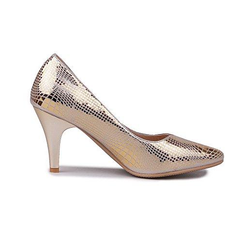 Amoonyfashion Kvinna Fast Mjukt Material Höga Klackar Pådrag Spetsiga Sluten Tå Pumpar-skor Guld