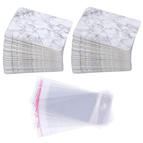 Earring Cards Set, 100 Pcs Paper Earring Display Cards with 100 Pcs Self-Seal Bags, Fashion Colorful Card Holder Organizer Tags DIY Handmade Packing Cards for Earring Stud Necklace (Marbling) ()