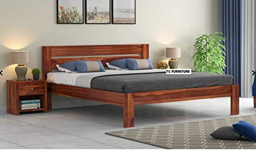 TG Furniture Solid Wooden Foster Queen Size Bed for Bedroom Home Furniture  Sheesham_Brown  Beds, Frames   Bases