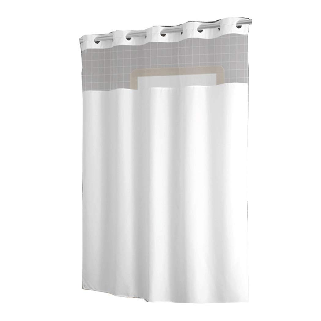 HONGLIAN Thicken Large Ring Yarn White Shower Curtain Simple Style Polyester Bathroom Partition Curtain Waterproof Mildew Washable 180180cm, 180200cm (Color : White, Size : 180200cm)