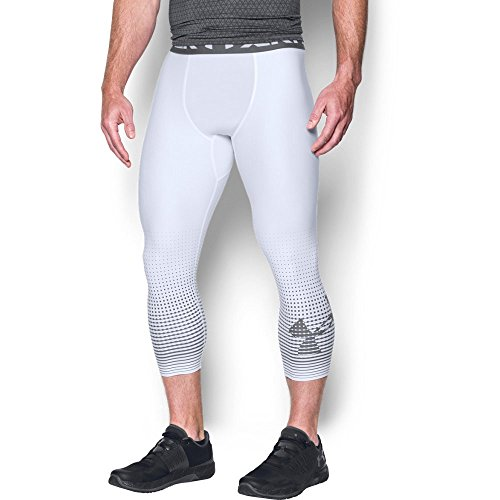 Under Armour Men's HeatGear Armour Graphic ¾ Leggings,White (100)/Graphite, Small by Under Armour (Image #1)
