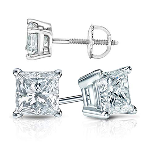 Supreme Realistic Princess Cut NSCD Simulated Diamond Solitaire Earrings Earstuds Screw Back Solid 925 SIlver Platinum Plated 1 2 Carats different sizes 5mm 6mm 7mm (6x6mm, 1 carat each side)
