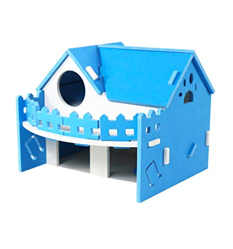 Hkim Hamster Hideout House, Gerbil Villa Wooden Living Hut Cabin Play Toys for Syrian Hamster, Dwarf Hamster, Chinchilla, Mouse, Gerbil and Small Animals (Dark Blue)
