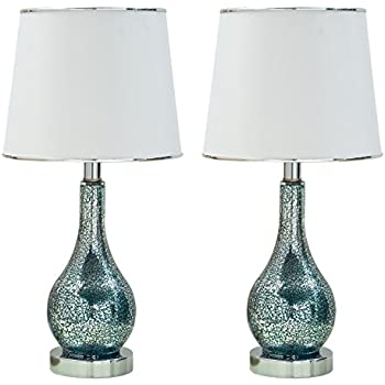 Beau Kings Brand Ardoch Aqua Blue Glass With White Fabric Shade Table Lamps, Set  Of 2