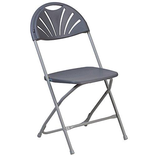 Flash Furniture HERCULES Series 800 lb. Capacity Charcoal Plastic Fan Back Folding Chair