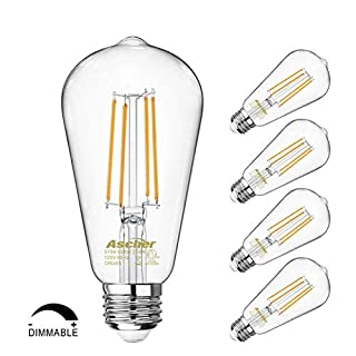 Dimmable Vintage LED Edison Bulbs 60 Watt Equivalent, Eye Protection Led Bulb with 95+ CRI, Warm White 2700K, ST58 Antique LED Filament Bulbs, E26 Medium Base, Pack of 4