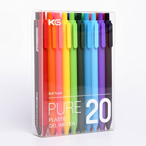 KACO Retractable Gel ink Pens,Extra Fine Point (0.5 mm)-20 Pack,Assorted Colors (I860)