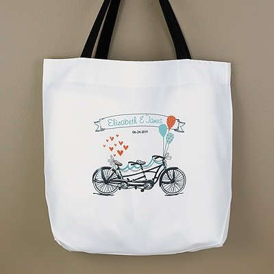 RaeBella New York Tandem Bike Personalized White Wedding Hotel Welcome Guest Bridal Party Swag Gift Bag SALE