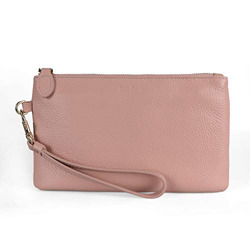 Clutch Blush - Befen Women's Leather Clutch Wristlet Wallet Wristlet Phone Purse with Card Slots - Fit iPhone 8 Plus - Blush Pink