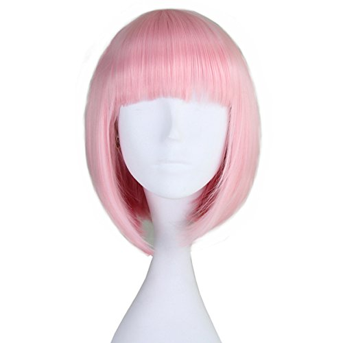 Miss U Hair Synthetic Girl's Short Straight Pink Harajuku Style Hair Bob Cosplay Party Wig