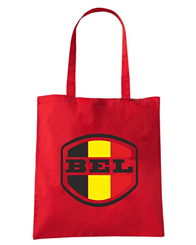 T-Shirtshock - Bolsa para la compra WC0034 BELGIUM BELGIO Rojo