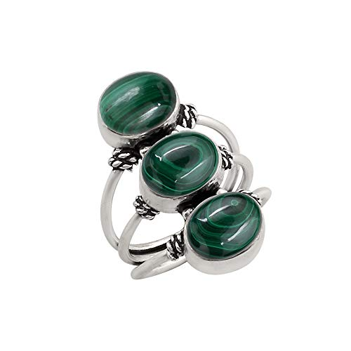 925 Silver Plated Genuine Oval Shape Malachite Three Stone Ring Vintage Style Handmade for Women Girls (Size-6)