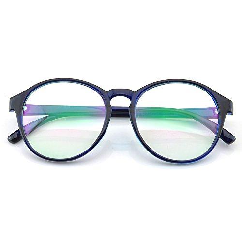 PenSee Womens Oversized Frame Inspired Horned Rim Clear Lens Circle Eyeglasses - Best Face Eyeglasses Oval For