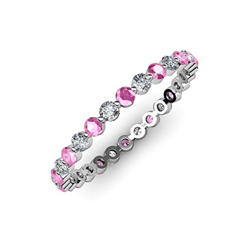 [Diamond and Pink Sapphire Floating Diamond Eternity Band 0.71 to 0.83 ct tw in 14K White Gold.size 5.5] (Si2 Round Diamond Eternity Ring)