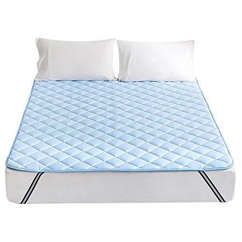 접촉 냉감 깔개 패드 솜 서늘한 통째로 빠는 일 OK 침대 패드 모서리 위화감 방지 고무 밴드와 항균 방취 방 진드기 가공 쿨 매트 담요 패드 (더블 140X200cm, 블루) / 퀸・160X200cm /  킹・180X200cm