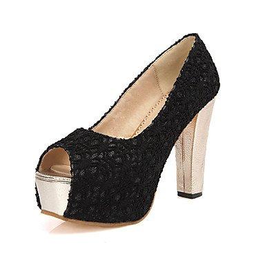 LvYuan Mujer-Tacón Robusto-Confort Zapatos del club-Sandalias-Boda Vestido Fiesta y Noche-Tul-Negro Rojo Beige Red