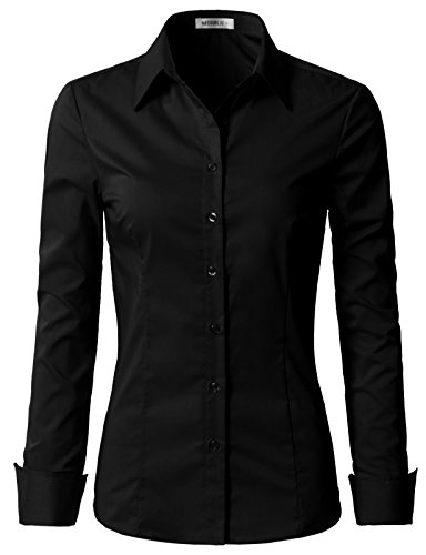 NINEXIS Womens Basic Long Sleeve Button Down Slim Fit Blouse Shirt Black M
