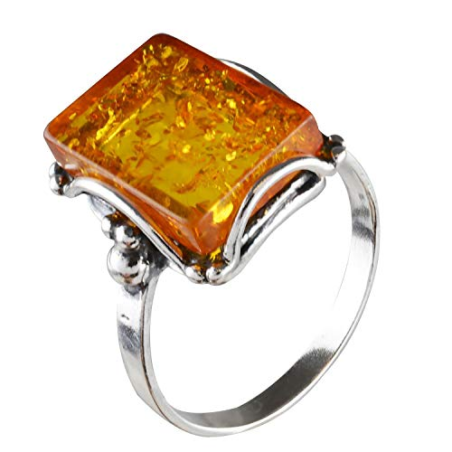 HolidayGiftShops Sterling Silver and Baltic Honey Amber Rectangle Ring Makell Size: 8