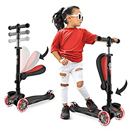 3 Wheeled Scooter for Kids – Stand & Cruise Child/Toddlers Toy Folding Kick Scooters w/Adjustable Height, Anti-Slip Deck, Flashing Wheel Lights, for Boys/Girls 2-12 Year Old – Hurtle HURFS56