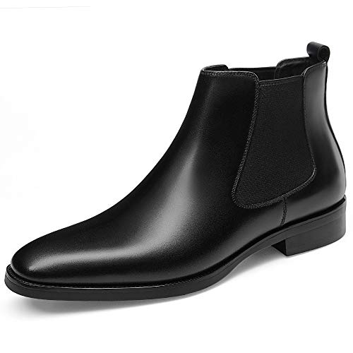 GIFENNSE Men's Chelsea Boots,Black Boots for Men,Brown Boots,Leather Boots,Mens Chelsea Boots (9.5US/Black