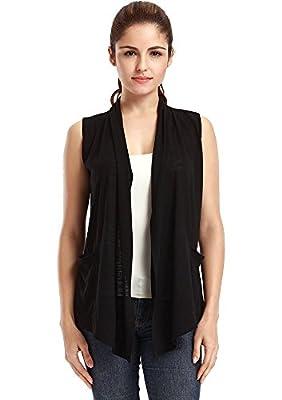 VESSOS Women's Pockets Solid Color Sleeveless Asymetric Hem Open Front Vest Cardigan