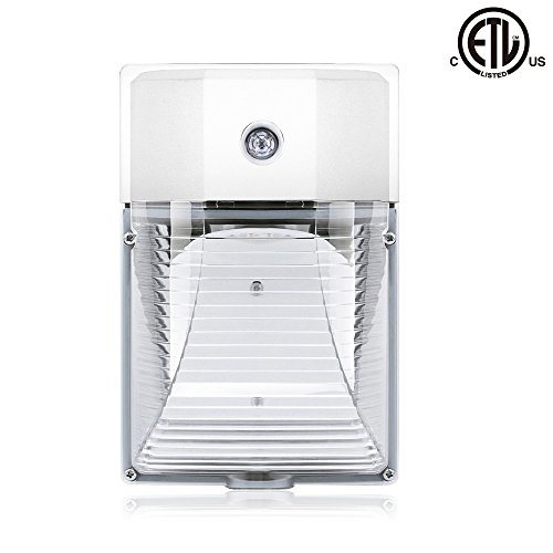 26W 3000lm LED Wall Pack Light (PHOTOCELL INCLUDED),120-277V 5000K Daylight DLC cETLus-listed Dusk to Dawn 150-250W MH/HPS replacement, Outdoor/Entrance Security Light (5-Year Warranty)(5000K) (Outdoor Housing Wall)