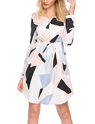 Tinkwell Women V Neck Long Sleeve Geometric Button Front Dress With Drawstring Waist, White, (Drawstring Dress)