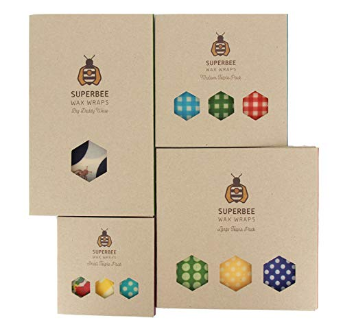 SuperBee Beeswax Wraps | Set of 10: 3 Small, 3 Medium, 3 Large and 1 Extra Large | Ethical Trade, Eco Friendly & Zero Waste Reusable Food Wraps (Eco Wrap)