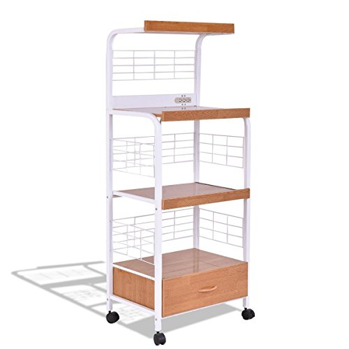 Price comparison product image 3-Tier Rolling Kitchen Microwave Oven Stand Cart with Electric Outlet