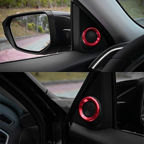 Anodized Aluminum A-Pillar Loudspeaker Decorations Circle Trims for Honda Civic 2016 2017 2018 2019 Thenice for 10th Gen Civic Door Audio Speaker Rings Red