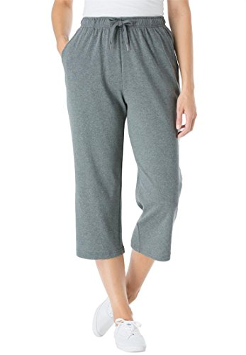 Women's Plus Size Petite Capri Pants In Soft Sport Knit Medium Heather (Sport Knit Pants)