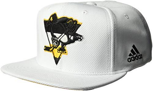 adidas NHL Pittsburgh Penguins Flat Brim Snapback Hat, White, One Size