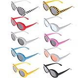 Xgood 10 Pack Clout Oval Goggles Retro Thick Frame Round Sunglasses Oval Round Glasses Mod Sunglasses for Women,Men,Teenagers,Girls,Boys,10 Colors