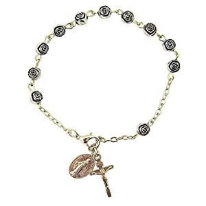 "Womens or Girls, Religous & Inspirational Catholic Rosebud Rosary Bracelet, Antique Silver Plate 6 Mm Bead 7 3⁄4"" L"
