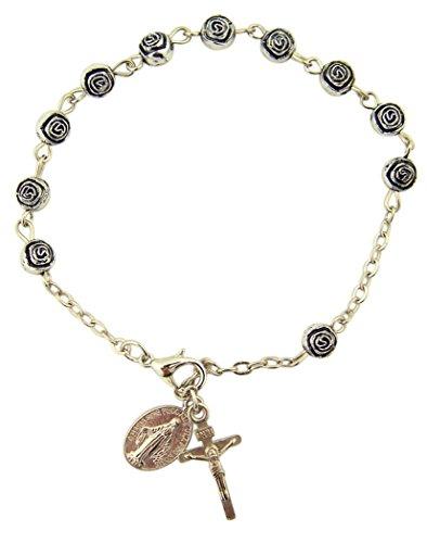 Womens or Girls, Religous & Inspirational Catholic Rosebud Rosary Bracelet, Antique Silver Plate 6 Mm Bead -- 7 3⁄4