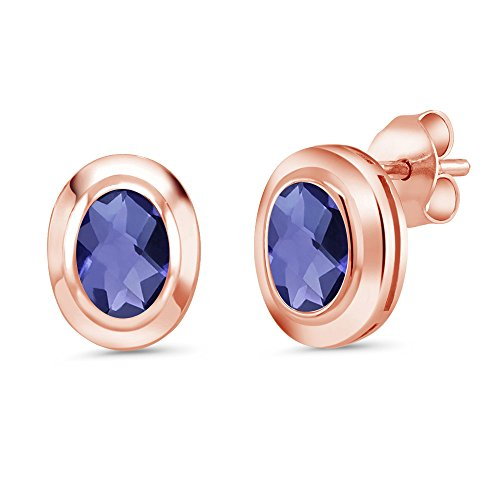 1.30 Ct Checkerboard 7x5mm Blue Iolite 18K Rose Gold Plated Silver Stud Earrings