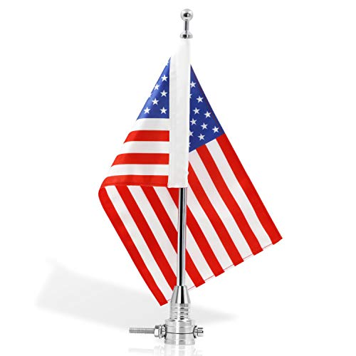 Chrome Flagpole Holder - Anley Motorcycle Flagpole Mount and American Flag - 7