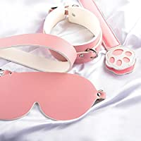Funtisan Sexy Adult 4 Pieces Lovely Cute Pink Cat Role Play BDSM Sex Bedroom Game Toys Adjustable Bondage Suit with…