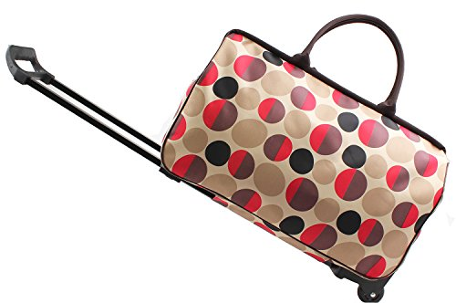 Jeemiter 20inch Luggage Rolling Duffle trolley travel bag tote Carry-On with colorful round printed for Women Short Term Trips Weekend ()