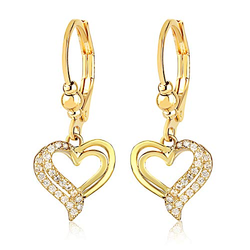 Surgical Steel Girl's Earrings - Clear Crystal Heart Shaped Fashion - Clear Heart Crystal