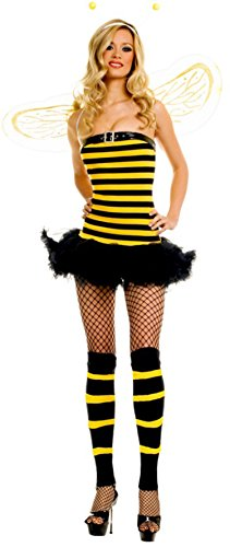 Sexy Bumble Bee Costume - ToBeInStyle Women's 3 Pc Strapless Bumble Bee Tutu Dress Includes: Antenna - Sm
