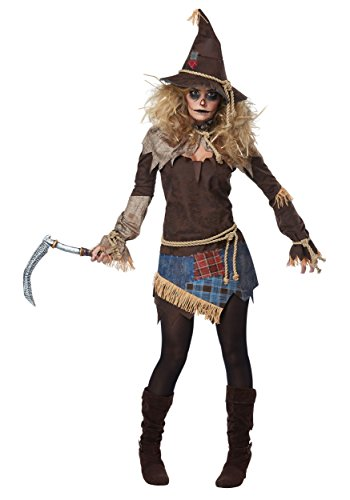 Family Of 3 Halloween Costumes 2019 (California Costumes Women's Creepy Scarecrow Adult Woman Costume, Brown, Extra)
