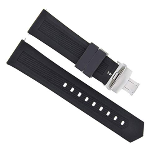 Tag Heuer Rubber Strap - 20MM Rubber Watch Band Strap Deployment Clasp for TAG HEUER AQUARACER Black BR#1