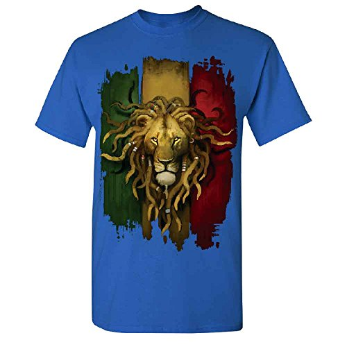 Rasta Lion Rastafarian Haile Selassie Men's T-shirt Fashion Quality Tee Royal Blue (Selassie Halloween)