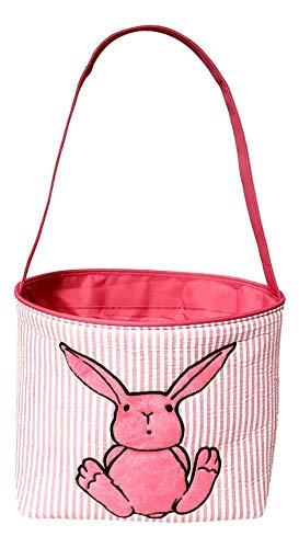 Unique Easter Bunny Rabbit Seersucker Fabric Basket Bucket Tote Bag (Pink Stripe)